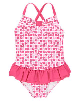Girls Mermaid Pink Geo Ruffle One-Piece Swimsuit by Gymboree