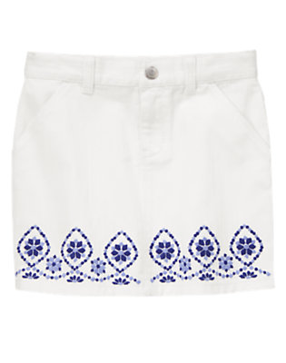 Girls White Embroidered Denim Skirt by Gymboree
