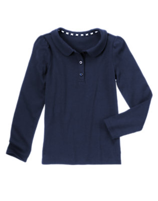 Girls Gym Navy Long Sleeve Polo Shirt by Gymboree