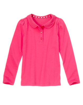 Girls Bright Fuchsia Long Sleeve Polo Shirt by Gymboree
