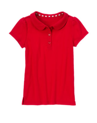 Girls Homeroom Red Polo Shirt by Gymboree
