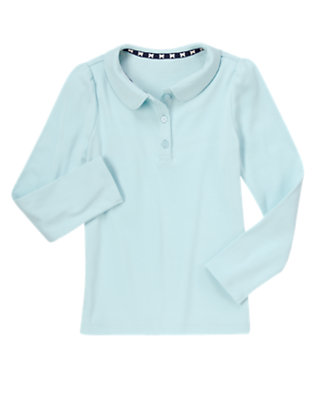 Girls Sky Blue Long Sleeve Polo Shirt by Gymboree