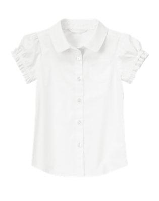 Girls White Short Sleeve Blouse by Gymboree