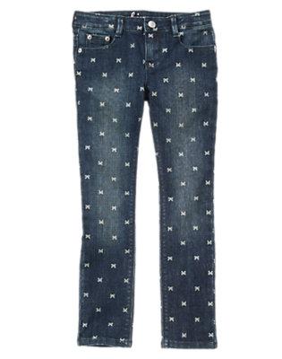 Girls Denim Bow Print Skinny Jeans by Gymboree