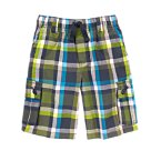 Plaid Drawstring Cargo Shorts