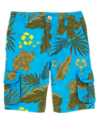 Boys Desert Teal Hibiscus Tropical Ripstop Cargo Shorts by Gymboree