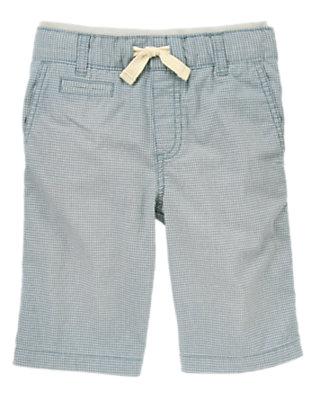 Boys Chambray Blue Check Ribbed Waist Canvas Shorts by Gymboree
