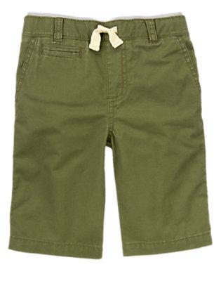 Boys Cactus Green Ribbed Waist Canvas Shorts by Gymboree