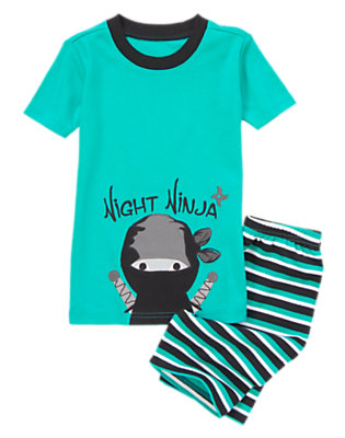 Boys Tucked In Teal Night Ninja Shortie Two-Piece Gymmies® by Gymboree