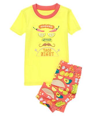 Boys Stardust Yellow Taco Night Shortie Two-Piece Gymmies® by Gymboree