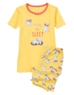 Girls Stardust Yellow Ready To Sleep Shortie Two-Piece Gymmies® by Gymboree