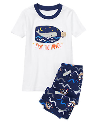 Toddler Boys Nautical Navy Whale Shortie Two-Piece Gymmies® by Gymboree