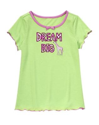 Girls Glowing Green Dream Big Sleep Tee by Gymboree