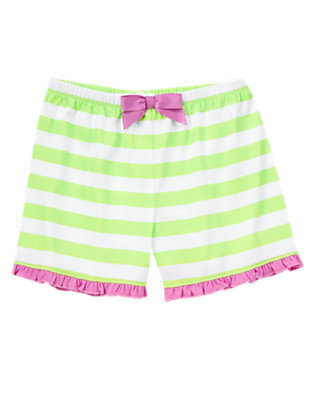 Toddler Girls Glowing Green Stripe Ribbon Bow Sleep Shorties by Gymboree