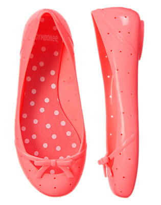 Girls Hot Coral Jelly Ballet Flats by Gymboree