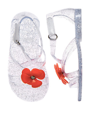 Toddler Girls Clear Sparkle Flower Sparkle Jelly Sandals by Gymboree