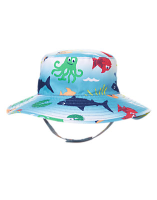 Toddler Boys Slate Blue Sea Creatures Bucket Hat by Gymboree