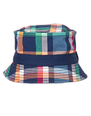 Toddler Boys Navy Plaid Checked Bucket Hat by Gymboree