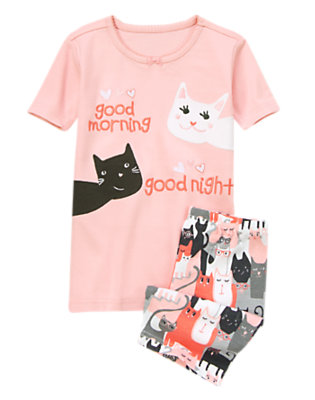 Pink Paws Good Morning Kitties Shortie Two-Piece Gymmies® by Gymboree