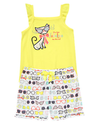 Starry Yellow Fabulous Kitty Two-Piece Pajama Set by Gymboree