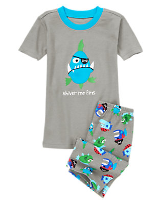Boys Scuba Grey Shiver Me Fins Shortie Two-Piece Gymmies® by Gymboree