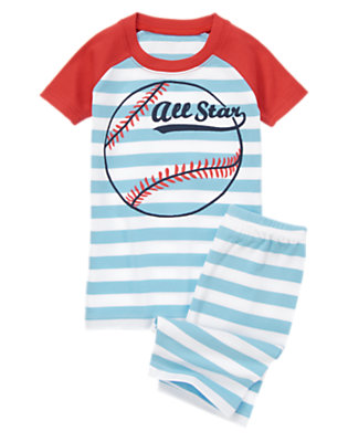 Boys Baseball Blue All Star Shortie Two-Piece Gymmies® by Gymboree