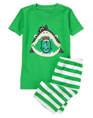 Boys Kelp Green Shark Bite Shortie Two-Piece Gymmies® by Gymboree
