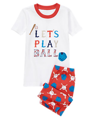 Boys Rah Rah Red Let's Play Ball Shortie Two-Piece Gymmies® by Gymboree