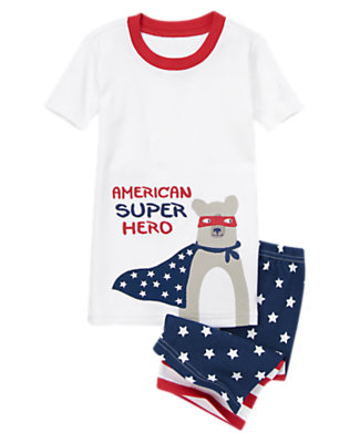 Boys U.S.A. Navy American Super Hero Shortie Two-Piece Gymmies® by Gymboree