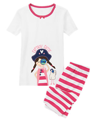 Toddler Girls Pirate Pink Captain Cutie Shortie Two-Piece Gymmies® by Gymboree