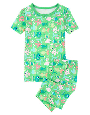 Girls Sea Green Funny Fish Shortie Two-Piece Gymmies® by Gymboree