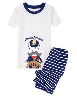 Toddler Boys Nautical Navy Captain Awesome Shortie Two-Piece Gymmies® by Gymboree