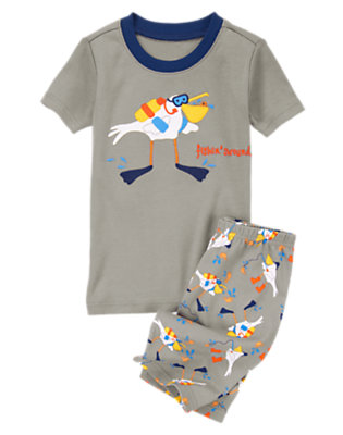 Toddler Boys Grey Gulls Fishin' Around Shortie Two-Piece Gymmies® by Gymboree