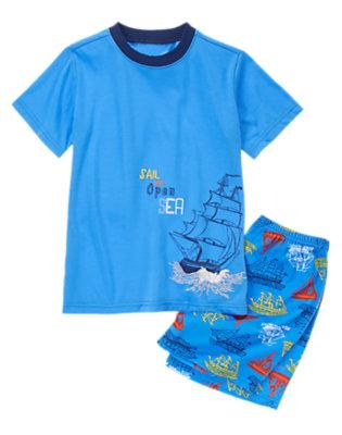 Toddler Boys Cobalt Blue Set Sail Two-Piece Pajama Set by Gymboree