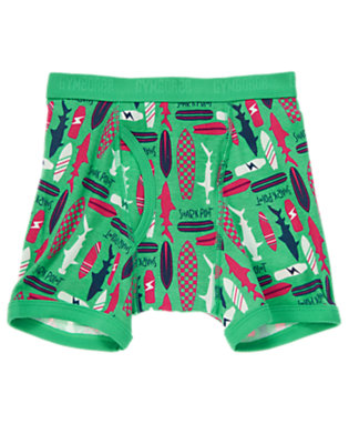 Toddler Boys Sea Green Shark Point Surfboard Boxer Briefs by Gymboree