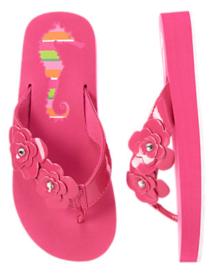 Girls Flamingo Pink Flower Gem Flip Flops by Gymboree