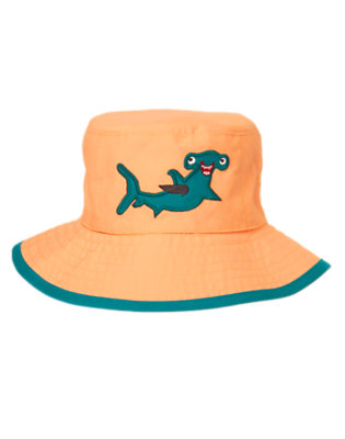 Toddler Boys Neon Orange Happy Shark Reversible Bucket Hat by Gymboree