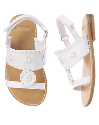 Toddler Girls White Stitch Sandals by Gymboree