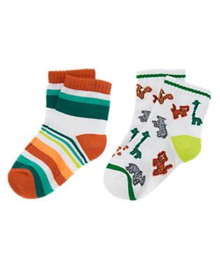 Toddler Boys Volcano Orange Stripe Safari and Stripes Socks Two-Pack by Gymboree
