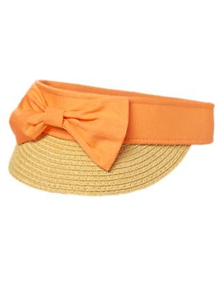 Girls Tangerine Bow Sun Visor by Gymboree