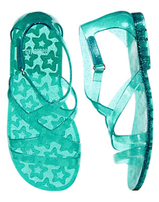 Girls Turquoise Sparkle Glitter Jelly Sandals by Gymboree