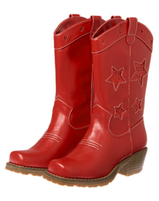 Girls Fireworks Red Glitter Star Cowboy Boots by Gymboree