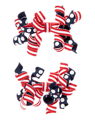 Toddler Girls U.S.A. Navy Dot Patriotic Curly Hair Clip Two-Pack by Gymboree