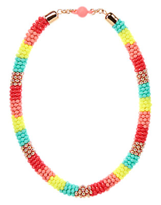 Girls Poppy Pink Colorblock Beaded Necklace by Gymboree