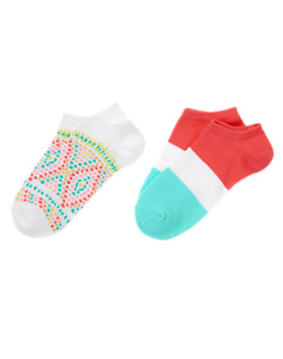 Girls White/Poppy Pink Striped Dot Socks Two-Pack by Gymboree