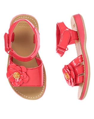 Toddler Girls Poppy Pink Patent Flower Sandals by Gymboree