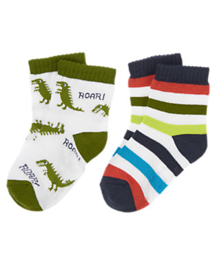Toddler Boys White Dino Striped Socks Two-Pack by Gymboree