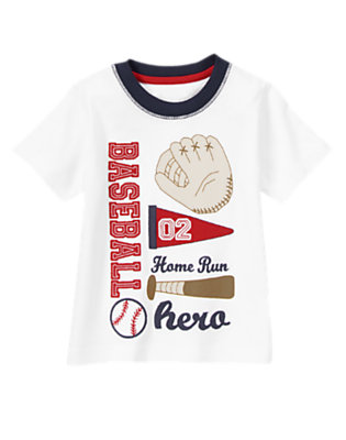 Toddler Boys White Baseball Gear Tee by Gymboree