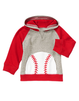 Toddler Boys Baseball Red Baseball Terry Hoodie by Gymboree