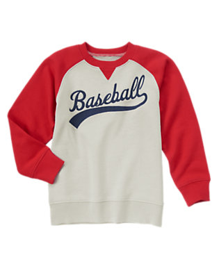 Boys Heather Grey Baseball Terry Pullover by Gymboree